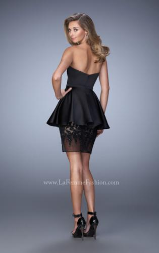 Picture of: Satin Short Dress with Peplum Skirt and Rhinestones, Style: 21817, Back Picture