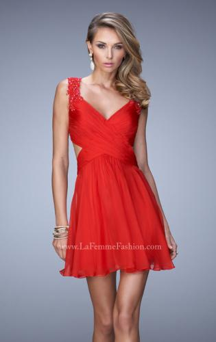 Picture of: Glam V Neck Cocktail Dress with Pleated Bust and Jewels, Style: 21834, Main Picture