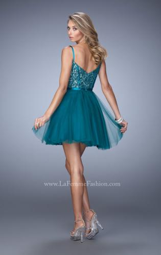 Picture of: Short Embroidered Dress with Thin Straps and Stones, Style: 21838, Back Picture