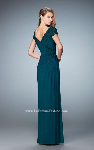 Picture of: Evening Gown with Short Embellished Sleeves and Stones, Style: 21860, Back Picture