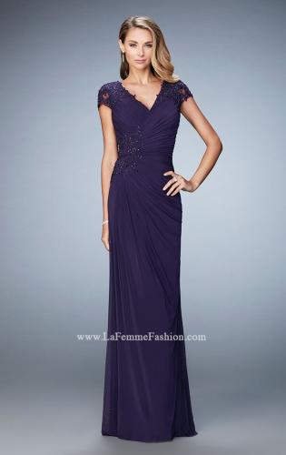 Picture of: Evening Gown with Short Embellished Sleeves and Stones, Style: 21860, Detail Picture 1