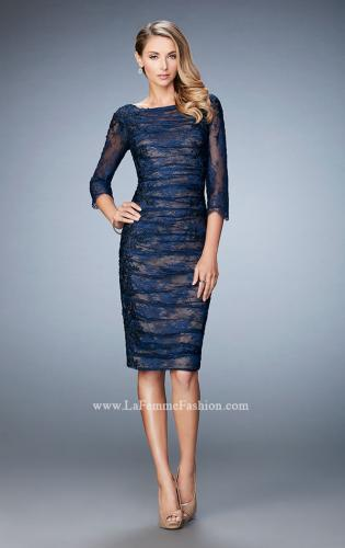 Picture of: 3/4 Sleeve Lace Cocktail Dress with Ruching, Style: 21861, Main Picture