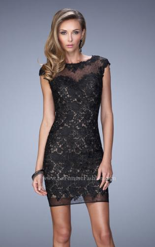 Picture of: Scoop Neck Lace Dress with Stones and Open Back, Style: 21872, Main Picture