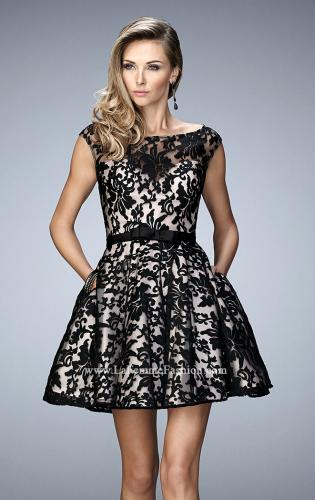 Picture of: Short Lace Gown with Boat Neckline and Bow Waistband, Style: 21876, Main Picture
