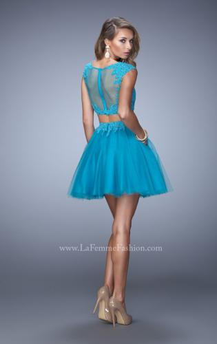 Picture of: Flirty Two Piece Dress with Sheer Overlay and Pockets, Style: 21878, Back Picture