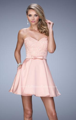 Picture of: Short Dress with Satin Skirt and Satin Bow Belt, Style: 21881, Main Picture