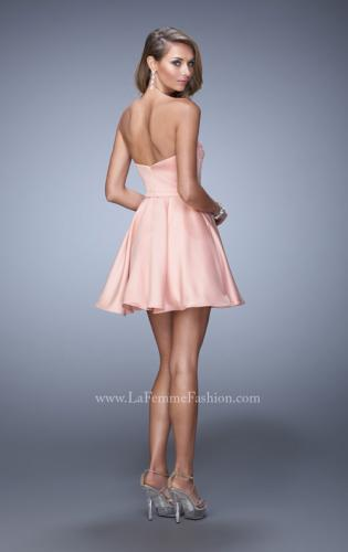 Picture of: Short Dress with Satin Skirt and Satin Bow Belt, Style: 21881, Back Picture