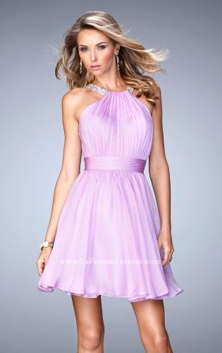 Picture of: Short Chiffon Gown with Gathering and Beaded Straps, Style: 21885, Main Picture