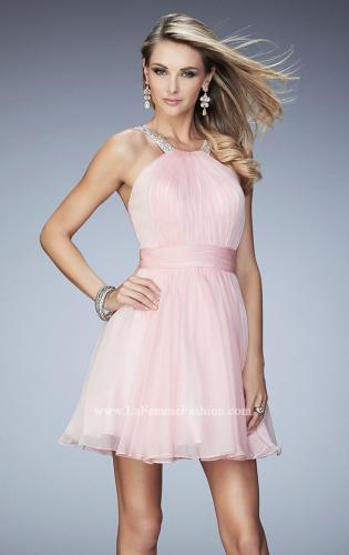 Picture of: Short Chiffon Gown with Gathering and Beaded Straps, Style: 21885, Detail Picture 1