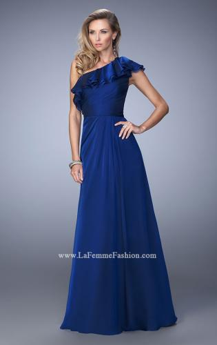 Picture of: One Shoulder Ruffle Evening Gown with A-line Skirt, Style: 21893, Main Picture