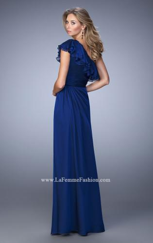 Picture of: One Shoulder Ruffle Evening Gown with A-line Skirt, Style: 21893, Back Picture