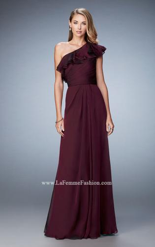 Picture of: One Shoulder Ruffle Evening Gown with A-line Skirt, Style: 21893, Detail Picture 1