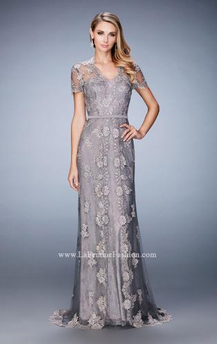 Picture of: Short Sleeve Evening Gown with Lace Underlay, Style: 21897, Main Picture