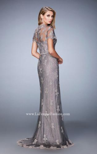 Picture of: Short Sleeve Evening Gown with Lace Underlay, Style: 21897, Back Picture