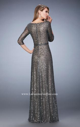 Picture of: Sequin Evening Gown with 3/4 Length Sleeves, Style: 21900, Back Picture