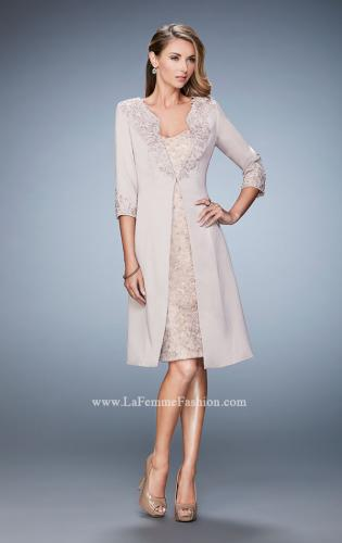 Picture of: Knee Length Jeweled Dress with Knee Length Coat, Style: 21903, Main Picture