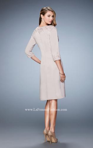 Picture of: Knee Length Jeweled Dress with Knee Length Coat, Style: 21903, Back Picture