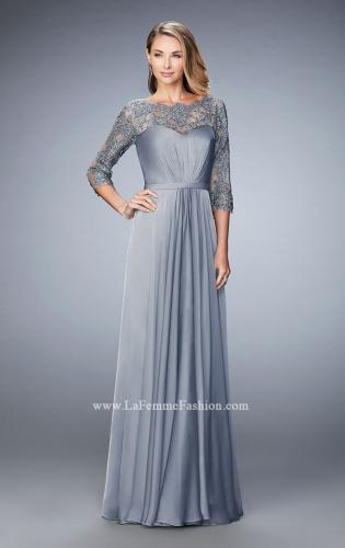 Picture of: Jewel and Lace Embroidered 3/4 Sleeve Evening Gown, Style: 21915, Main Picture