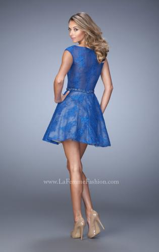 Picture of: Glam Lace Dress with Cap Sleeves and Beaded Belt, Style: 21949, Back Picture