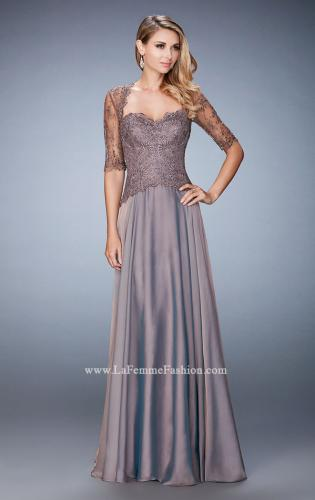 Picture of: Long Evening Gown with Full Skirt and 3/4 Length Sleeves, Style: 21957, Main Picture
