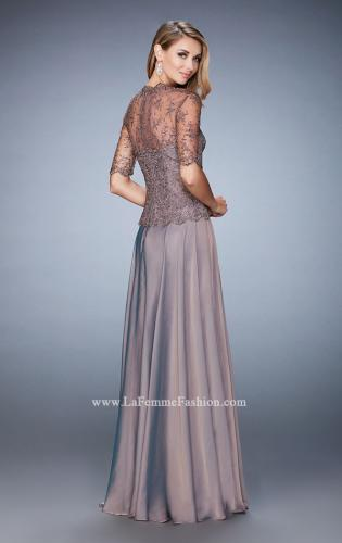 Picture of: Long Evening Gown with Full Skirt and 3/4 Length Sleeves, Style: 21957, Back Picture