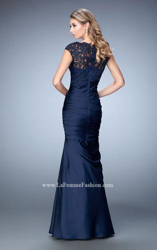 Picture of: Satin Dress with Sheer Cap Sleeves and Pleated Skirt, Style: 21961, Back Picture