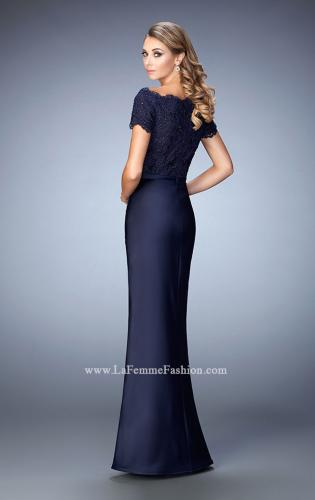 Picture of: Off the Shoulder Evening Gown with Jeweled Bodice, Style: 21962, Back Picture
