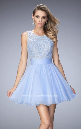 Picture of: Short Chiffon Gown with Lace Bodice and Sheer Back, Style: 21991, Main Picture