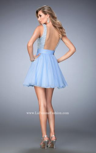 Picture of: Short Chiffon Gown with Lace Bodice and Sheer Back, Style: 21991, Back Picture