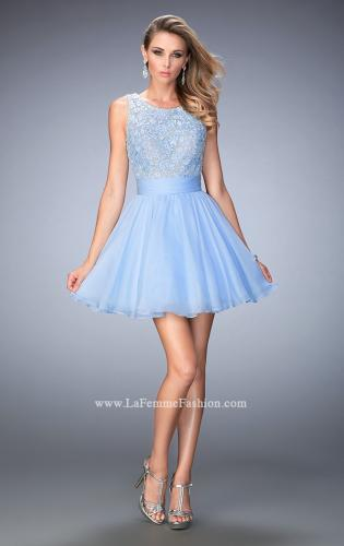 Picture of: Short Chiffon Gown with Lace Bodice and Sheer Back, Style: 21991, Detail Picture 1