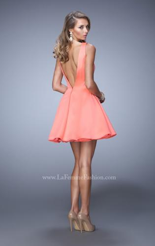 Picture of: Satin Dress with Thick Straps and Deep V Open Back, Style: 22009, Back Picture