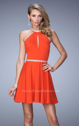 Picture of: Bold Jersey Short Dress with Halter Neckline and Stones, Style: 22016, Main Picture