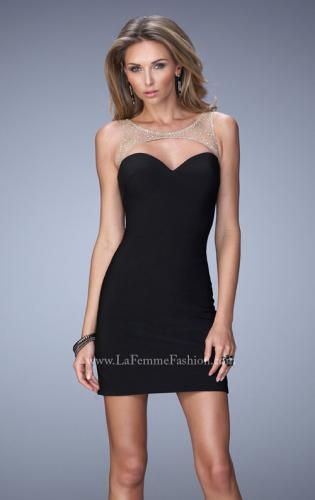 Picture of: Embellished Jersey Dress with Cut Outs Rhinestones, Style: 22021, Main Picture