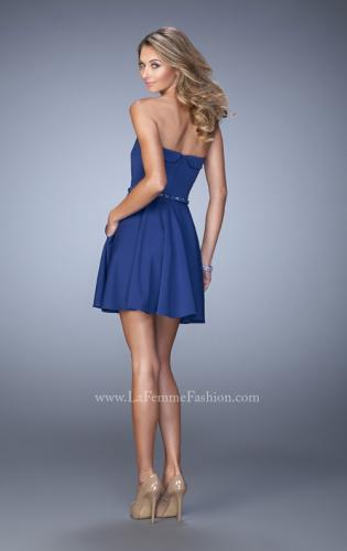Picture of: Short Jersey Dress with Beaded Belt and Pockets, Style: 22023, Back Picture