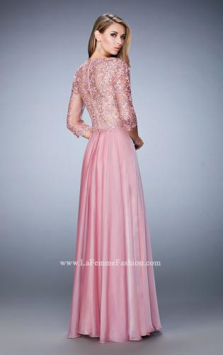 Picture of: Lace and Jeweled Embroidered Evening Gown, Style: 22031, Back Picture