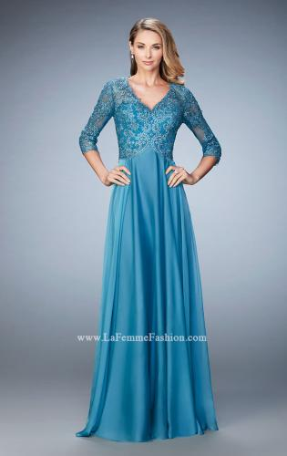 Picture of: Lace and Jeweled Embroidered Evening Gown, Style: 22031, Detail Picture 1