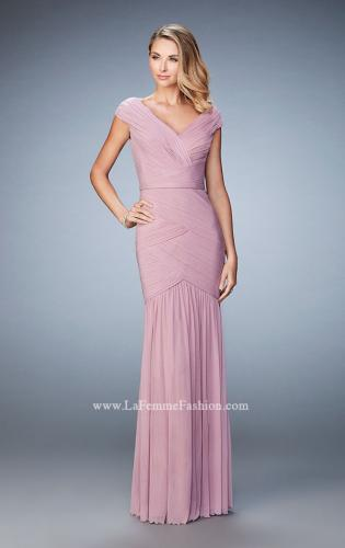 Picture of: Pleated Net Jersey Gown with Cap Sleeves and Belt, Style: 22040, Main Picture