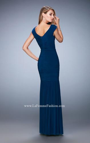 Picture of: Pleated Net Jersey Gown with Cap Sleeves and Belt, Style: 22040, Back Picture