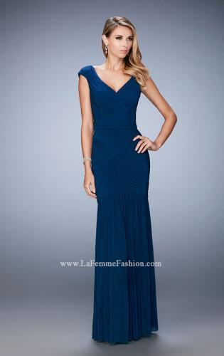 Picture of: Pleated Net Jersey Gown with Cap Sleeves and Belt, Style: 22040, Detail Picture 1
