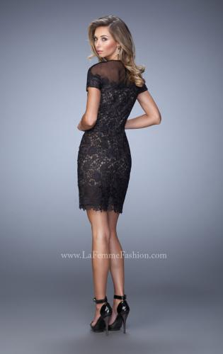 Picture of: Short Sleeve Lace Dress with Sheer Scoop Neckline, Style: 22044, Back Picture