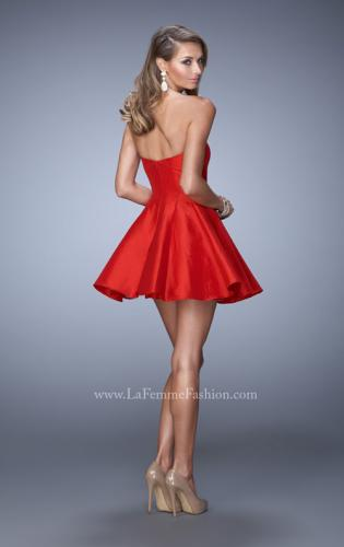 Picture of: Satin Dress with Beaded Trim and Sweetheart Neckline, Style: 22047, Back Picture