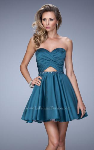 Picture of: Short Satin Dress with Criss Cross Ruched Bodice, Style: 22083, Main Picture