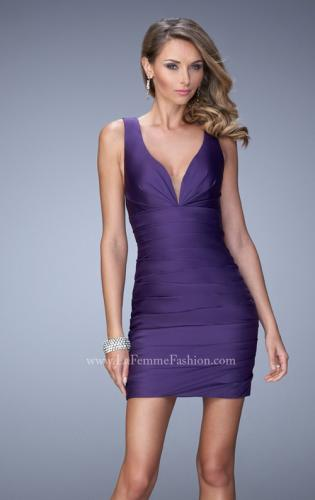 Picture of: Ruched Satin Dress with Open Back and Crossed Straps, Style: 22102, Main Picture