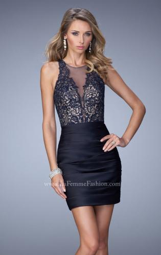 Picture of: Short Dress with Ruched Skirt and Lace Bodice, Style: 22104, Main Picture
