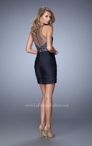 Picture of: Short Dress with Ruched Skirt and Lace Bodice, Style: 22104, Back Picture