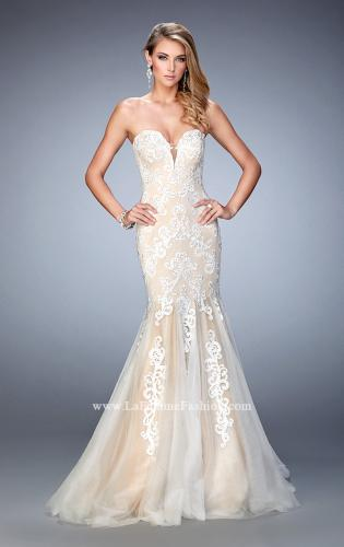 Picture of: Sweetheart Neckline Gown with Rhinestone Lace Detail, Style: 22167, Main Picture