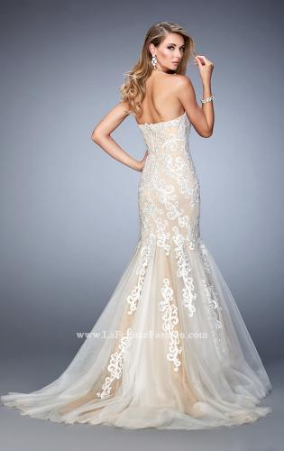 Picture of: Sweetheart Neckline Gown with Rhinestone Lace Detail, Style: 22167, Back Picture