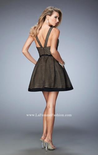 Picture of: Striped Short Dress with V Neckline, Style: 22193, Back Picture