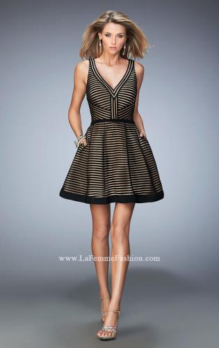 Picture of: Striped Short Dress with V Neckline, Style: 22193, Detail Picture 1