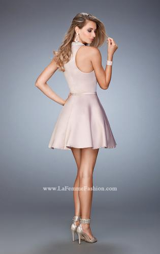 Picture of: Short Stretch Satin Dress with Pearl and Diamond Neckline, Style: 22212, Back Picture
